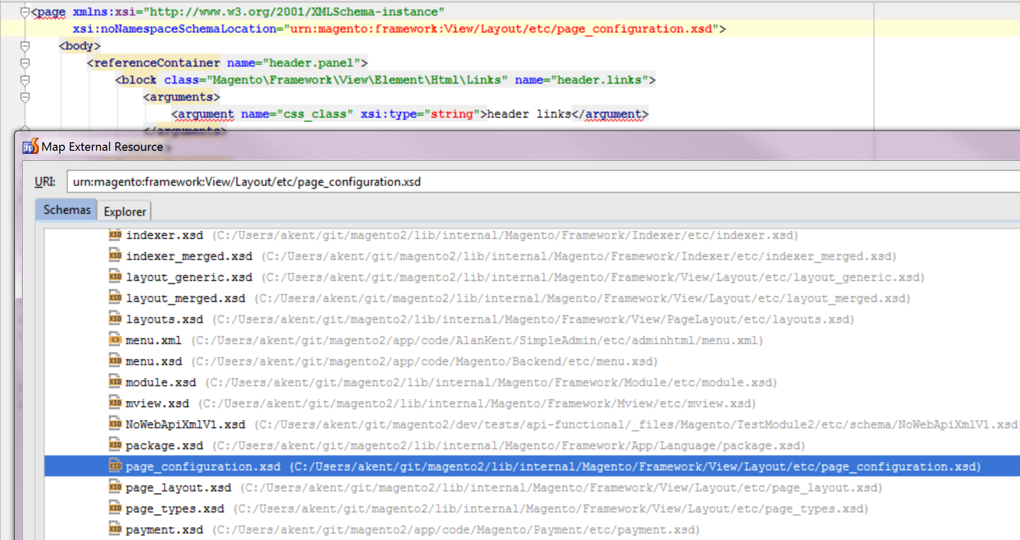 XML Schema Resolution in PHP Storm with URNs (Quick Note
