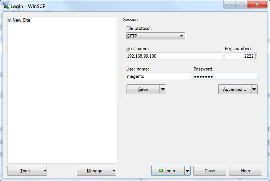 WinSCP - login